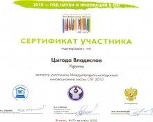 """Сертификат участия  в """"Инновационной сессии 2010"""""""